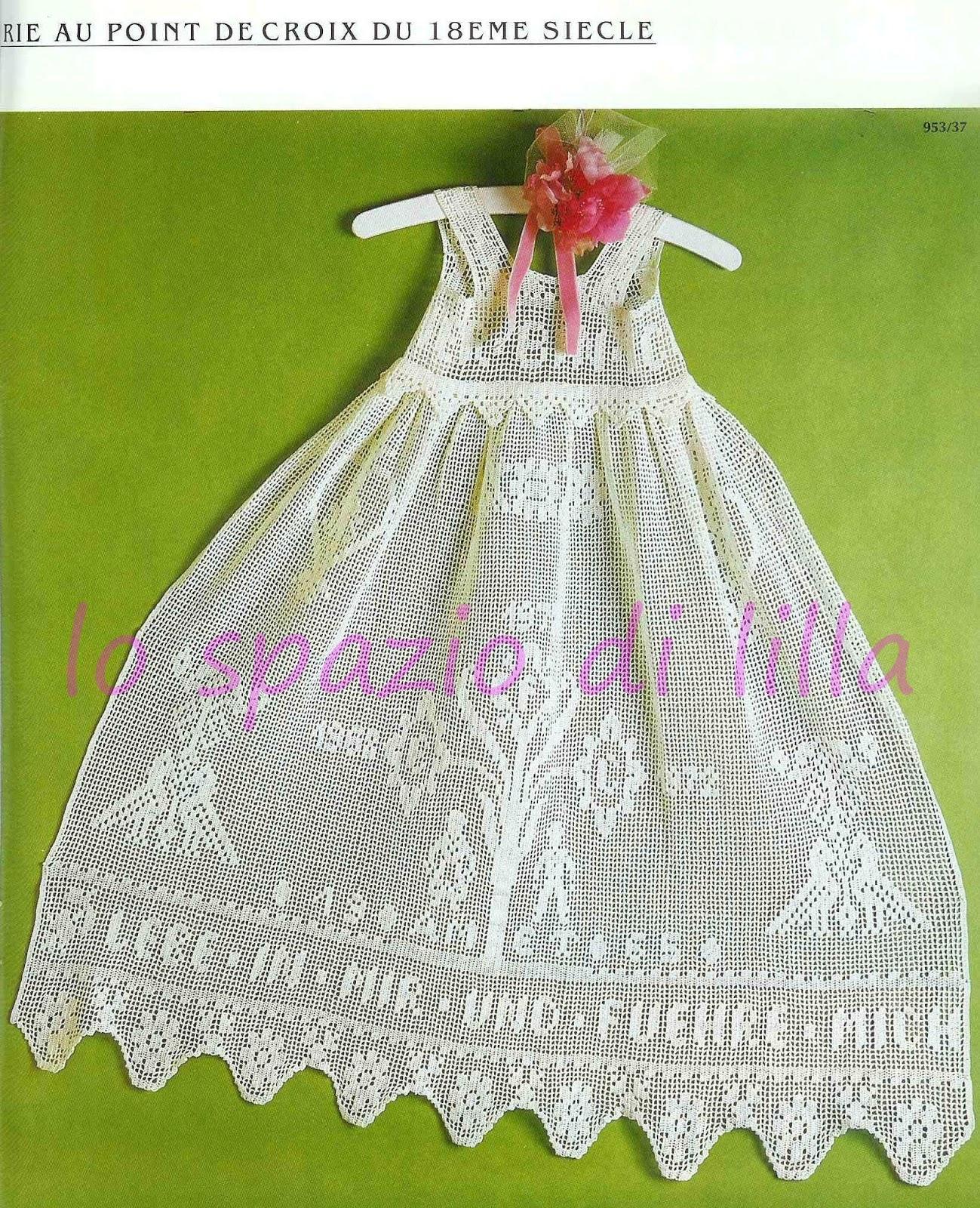 Lo spazio di lilla vestitini e cuffiette per battesimo for Top all uncinetto schemi