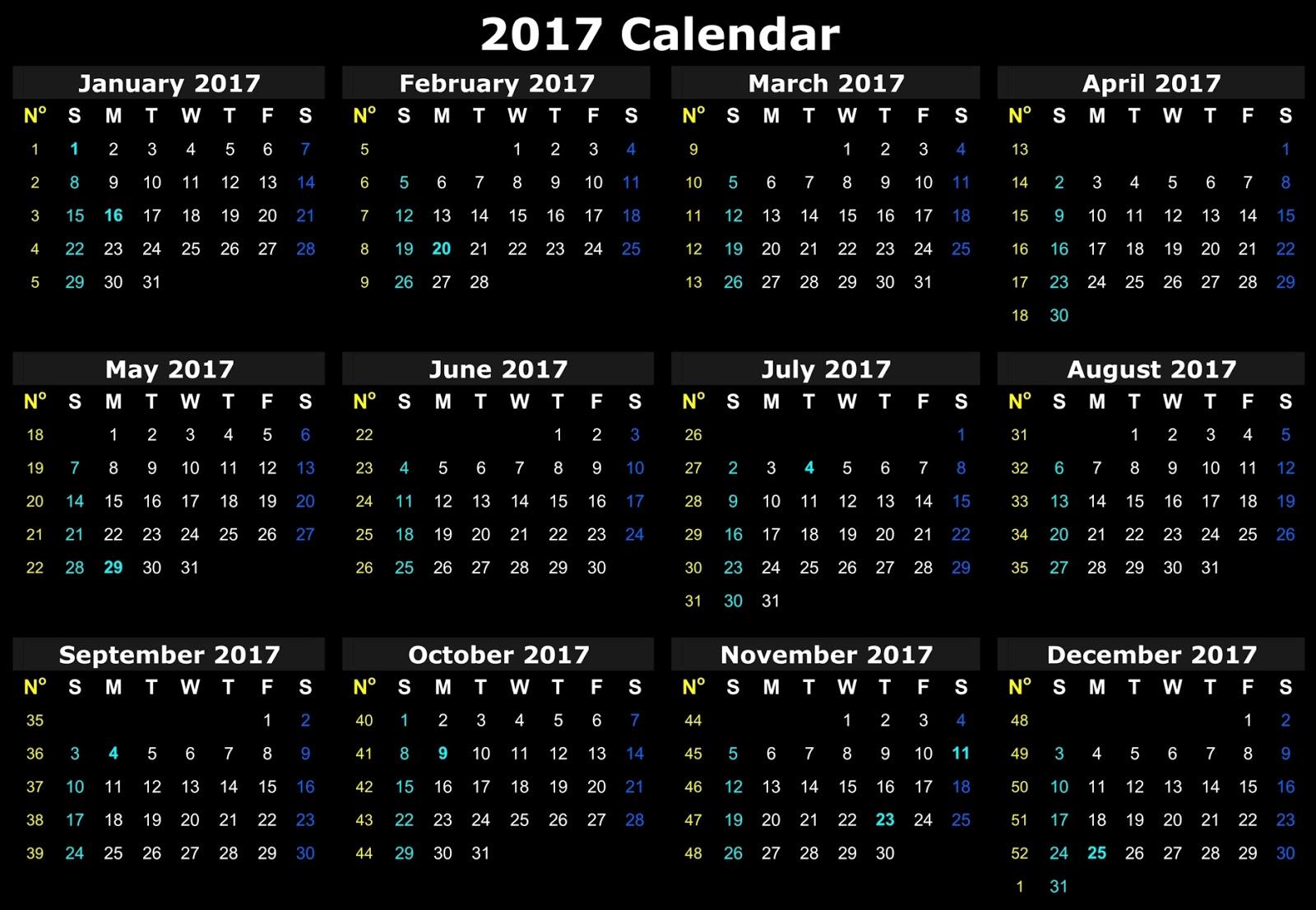online calendar 2017