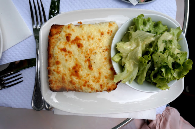 croque monsieur and salad