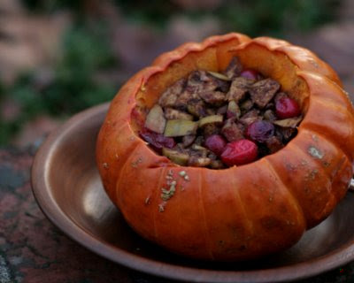 Stuffed Pumpkin with Apple & Cranberry, a fun fall side dish or dessert. For Weight Watchers, #PP5. #AVeggieVenture