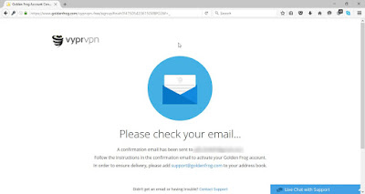 The picture shows a message from VyprVPN that we have been sent a confirmation email