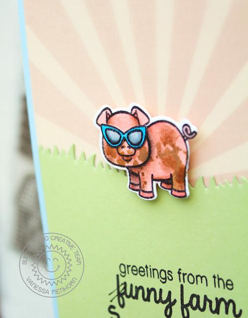 Sunny Studio Stamps: Barnyard Buddies Sunny Farm Piggy Card by Vanessa Menhorn