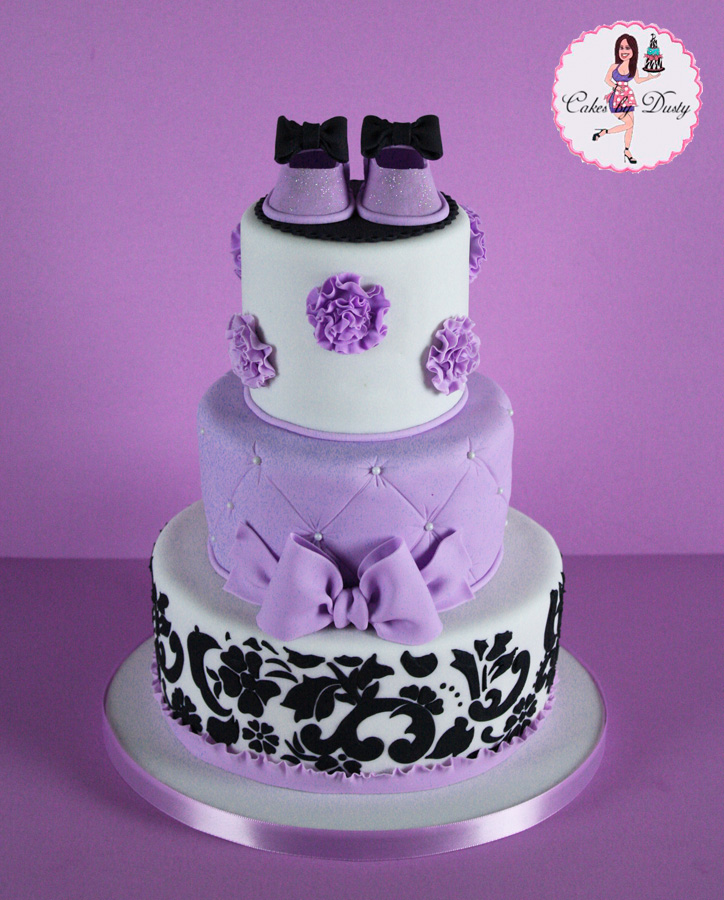 Cakes By Dusty Purple Amp Damask Baby Shower Cake