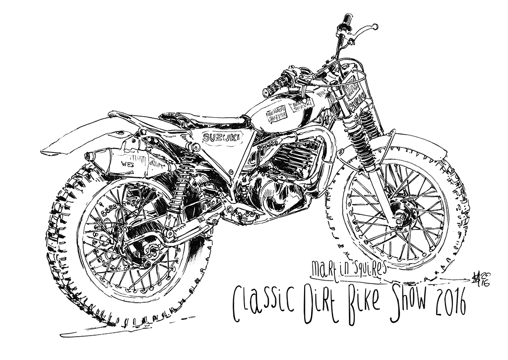 martin squires automotive illustration  the classic dirt bike show  2016
