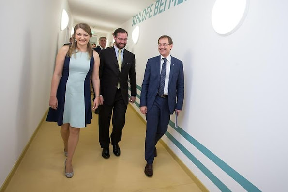 Hereditary Grand Duchess Stéphanie and Hereditary Grand Duke Guillaume attended the inauguration of the new youth center at the Centre de jeunesse Marienthal