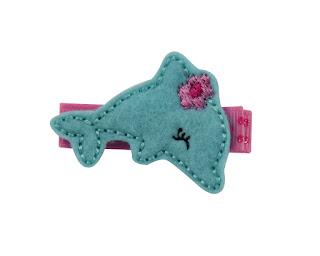 barrette bébé dauphin turquoise, barrette anti-glisse enfant