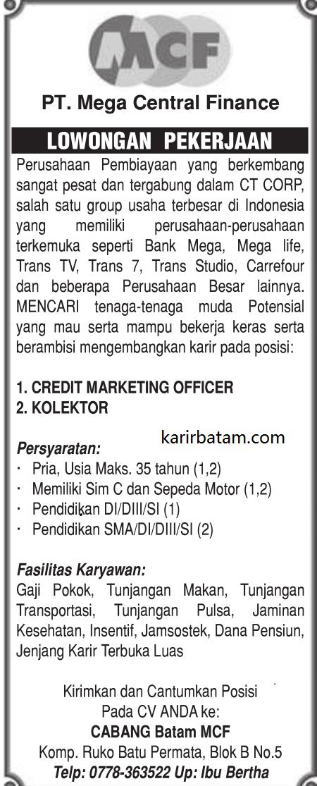 Lowongan Kerja PT. Mega Central Finance