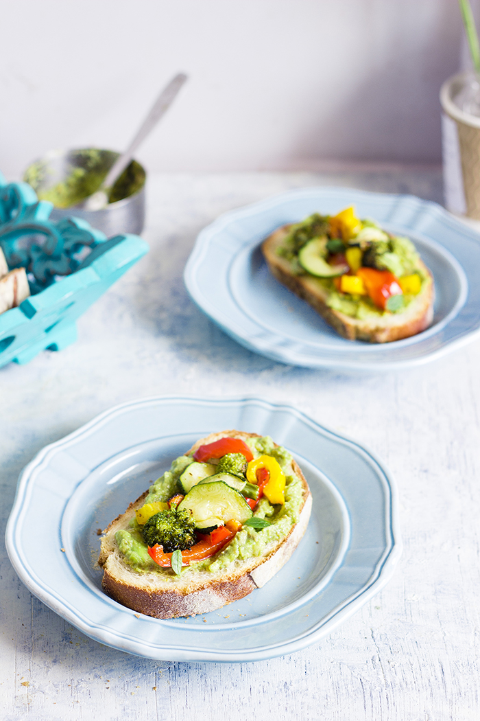 vegan grilled summer vegetable open sandwich