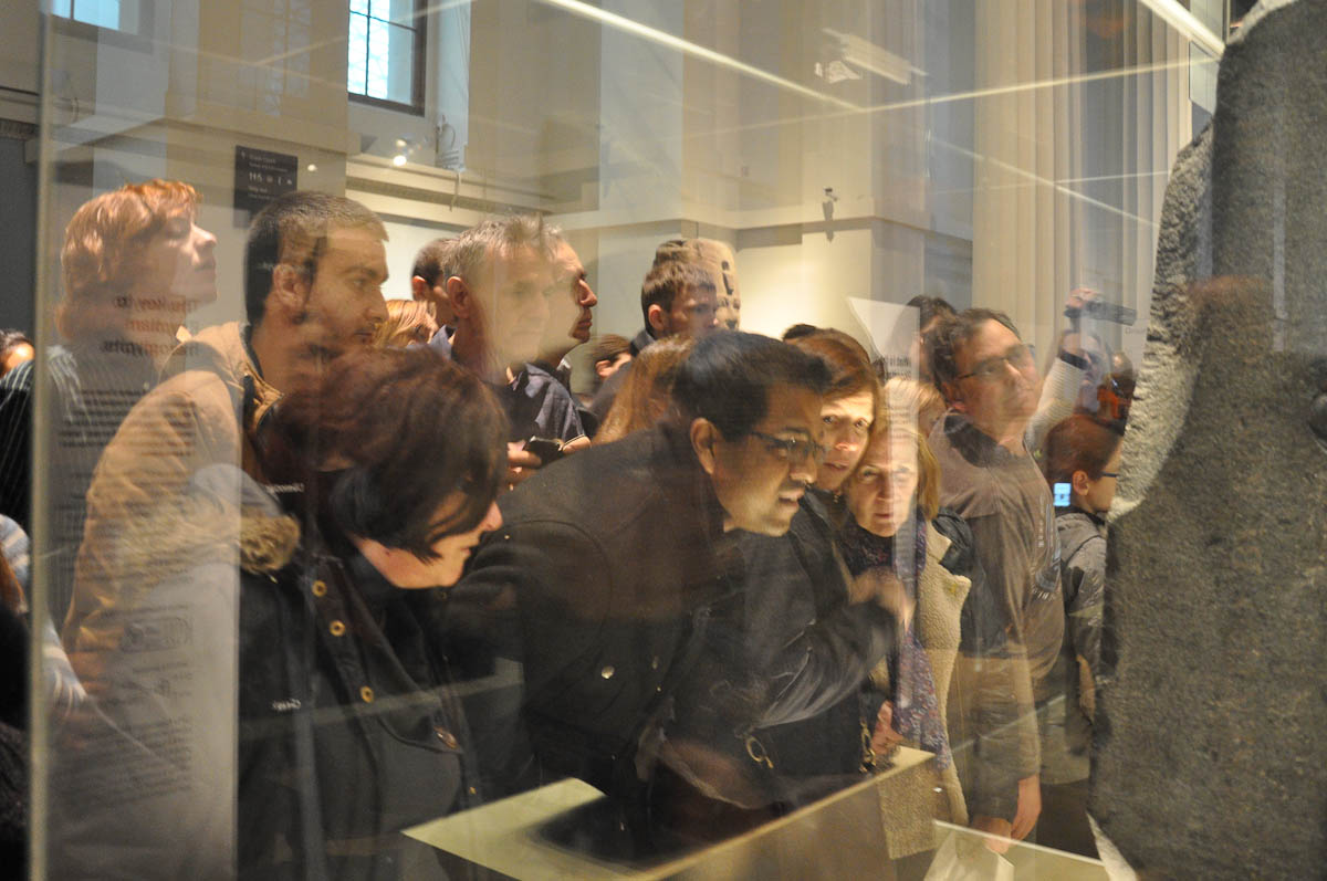 The crowds and the Rosetta Stone, The British Museum, London, UK