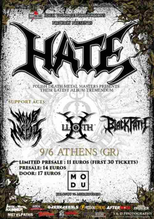 HATE: Παρασκευή 9 Ιουνίου @ Modu με Womb Of Maggots, Lloth και Black Path