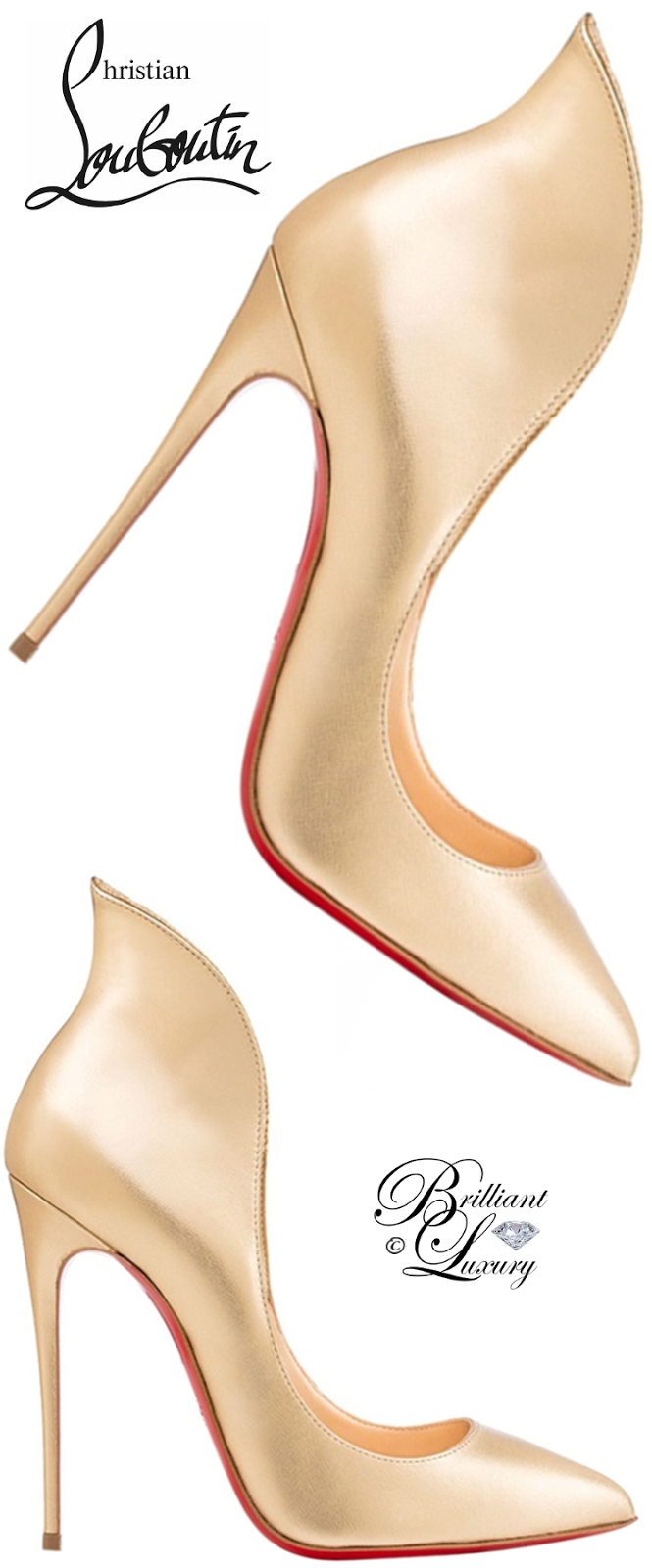 Brilliant Luxury ♦ Christian Louboutin Mea Culpa Flared Red Sole Pump #gold