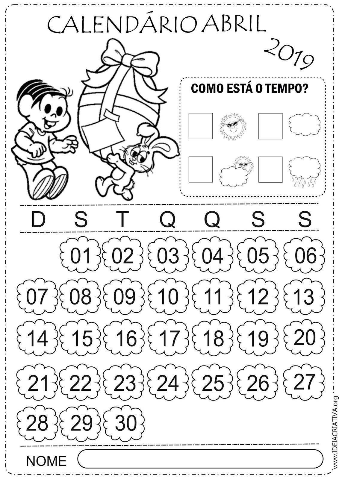 Calendarios Abril 2019 Turma Da Monica Para Imprimir E Colorir