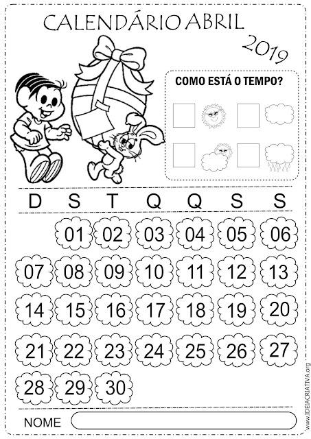 Calendários Abril 2019 Turma da Mônica para imprimir e colorir
