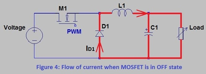 Flow of current when MOSFET is in OFF state