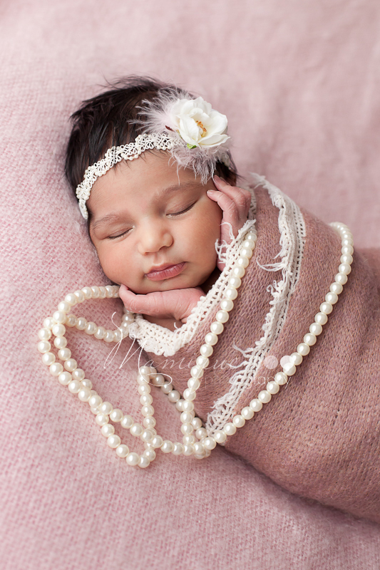 Surrey newborn girl sleeping portrait