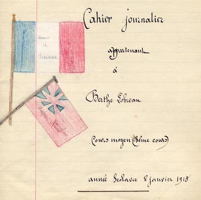 Cahier spécial de devoirs mensuels Librairie Classique Paul Boyer à Chalon-sur-Saône, cours supérieur de filles, élève Hélène T., 1917 (collection musée)