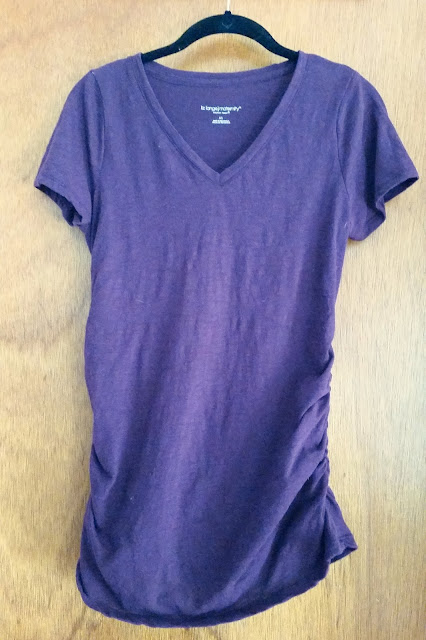 Target, maternity, style, fashion, spring, summer, tee, t-shirt, short sleeves, ruched, purple, cute