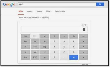 calculation on google search engine