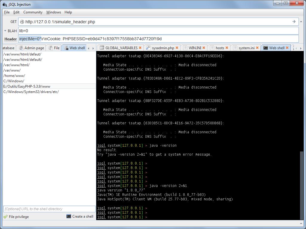 jSQL Injection v0 77 - Java application for automatic SQL database