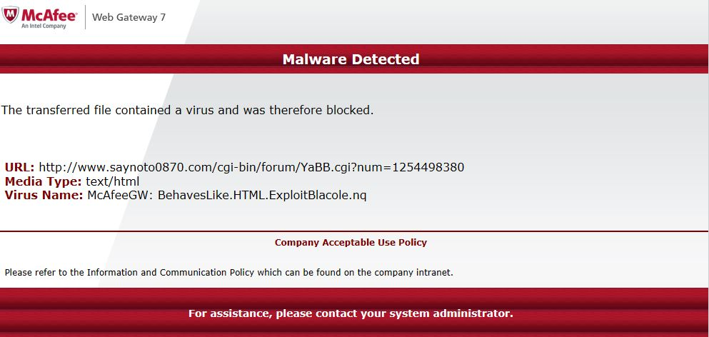 Say No to 0870 website is infected with a Trojan virus