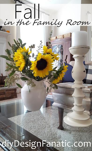 fall, sunflowers, mantel, farmhouse, cottage, farmhouse style, cottage style, family room,
