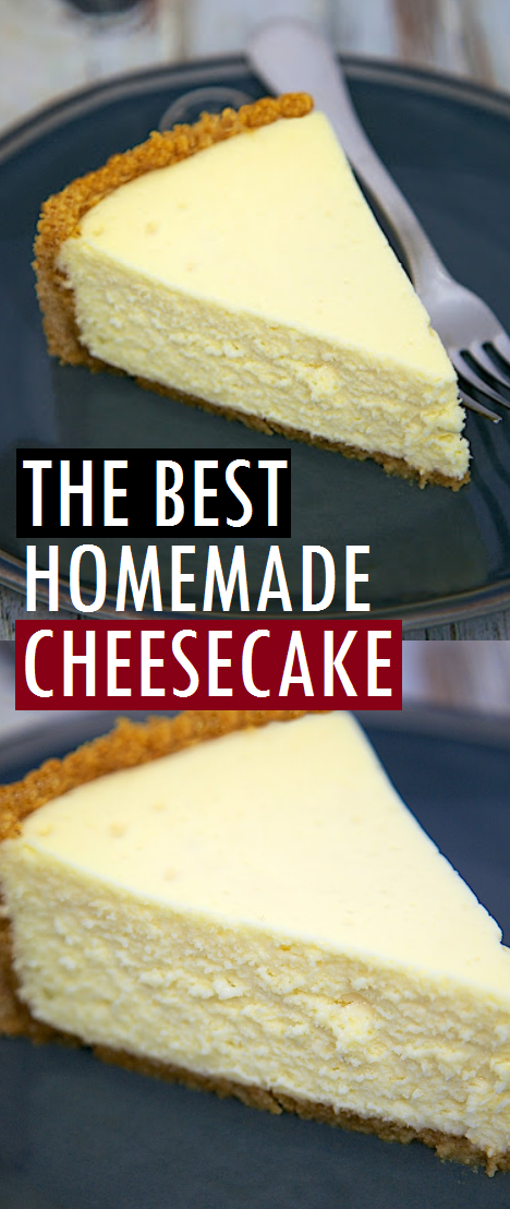 The Best Homemade Cheesecake - get the secret for the lightest and fluffiest cheesecake ever! #bestdessert #homemade #cheesecake #cake #cheesecakerecipe #bestrecipe #dessert