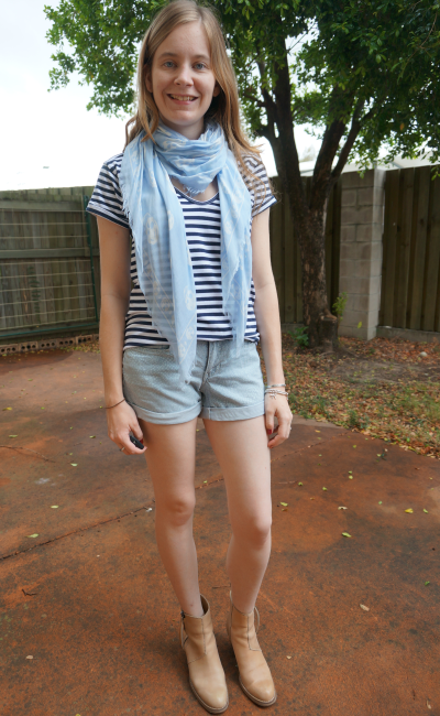 Spring Denim Shorts Outfit Stripes Ankle Boots Skull Scarf Alexander McQueen