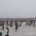 Photos/Video: Watch Kaduna state residents run towards the presidential aircraft as Buhari arrived the Kaduna airforce base
