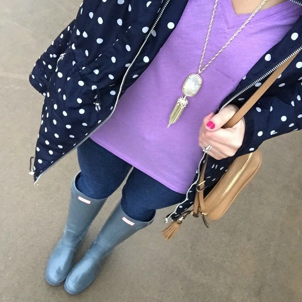 hunter boots, polka dot anorak, kendra scott necklace