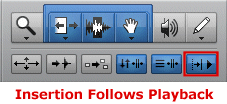 Insertion Follows Playback Button in Pro Tools
