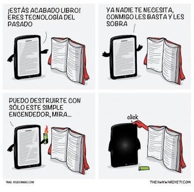 Meme de humor sobre el libro electrónico y el libro convencional