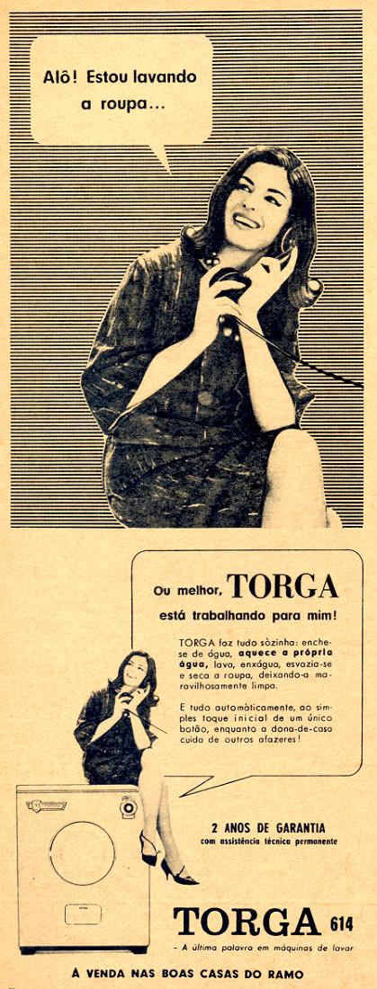 Propaganda antiga da Torga apresentando sua linha de máquinas de lavar em 1963