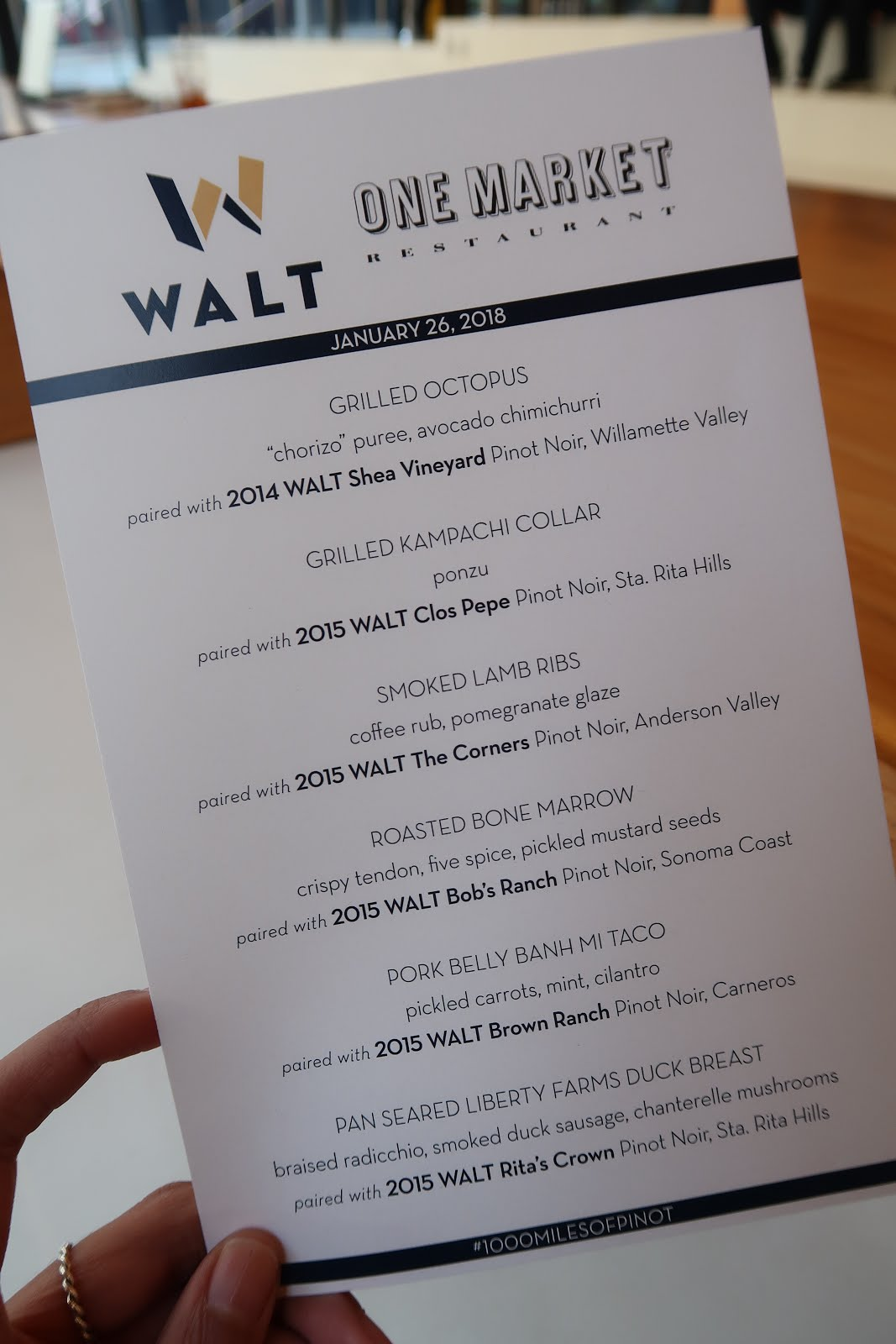 The menu from the One Market restaurant and WALT Wines 1,000 Miles of Pinot tasting experience.