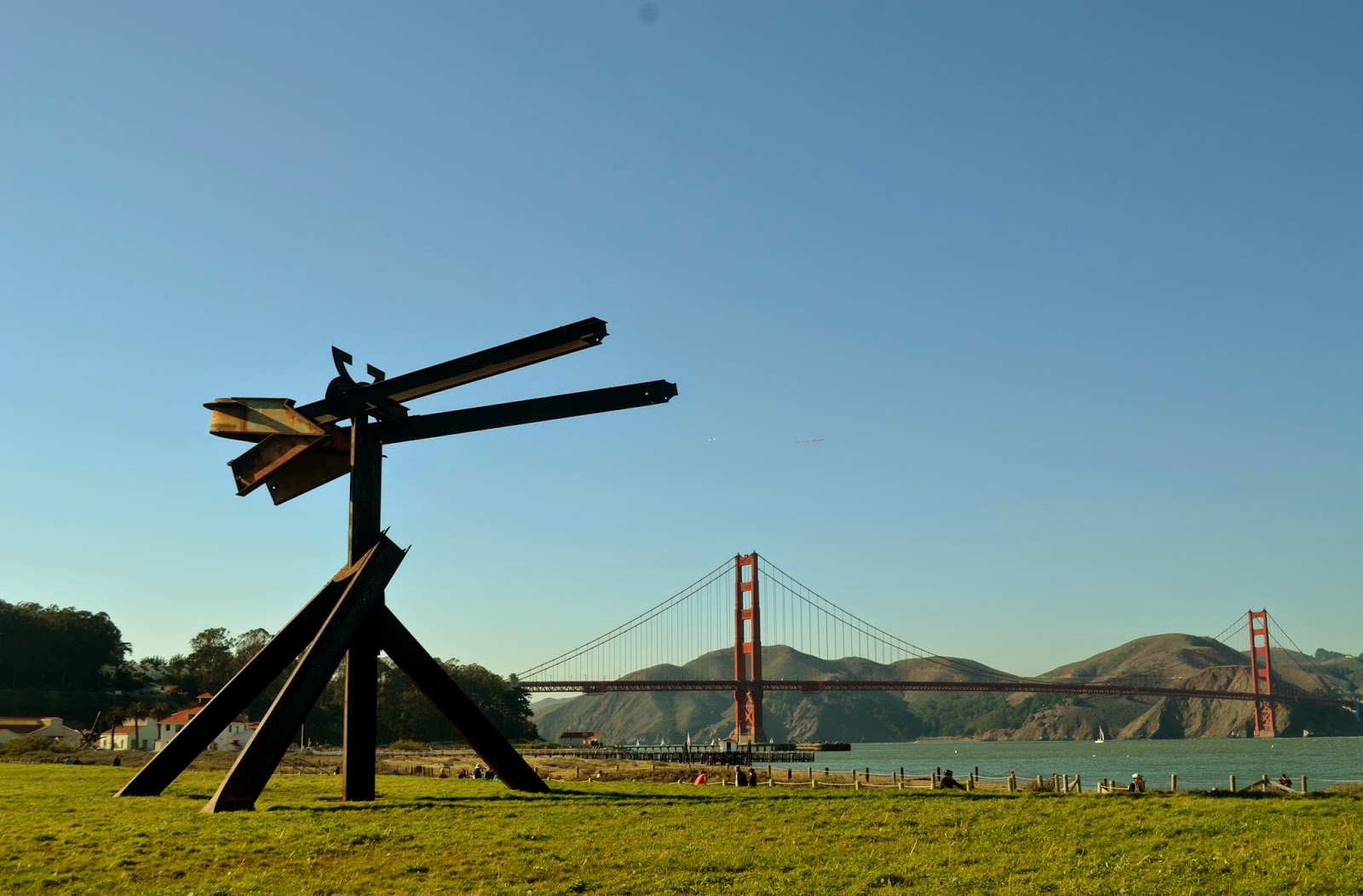 Mark di Suvero at Chrissy Field with the Golden Gate Bridge in the background