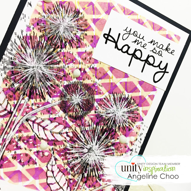 ScrappyScrappy - Unity Stamp's Birthday celebration continues - So Dang Happy #scrappyscrappy #unitystampco #quicktipvideo #youtube #sodanghappy #stencil #rotatestencil #rotatingstencil