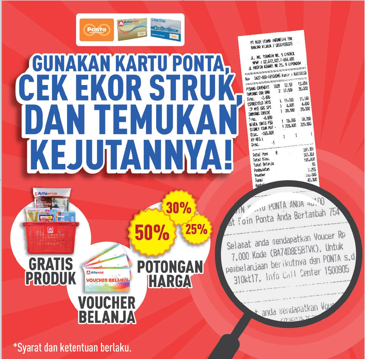 #Alfamidi - Promo Kejutan di Ekor Struk Setiap Belanja Pakkai Karu PONTA
