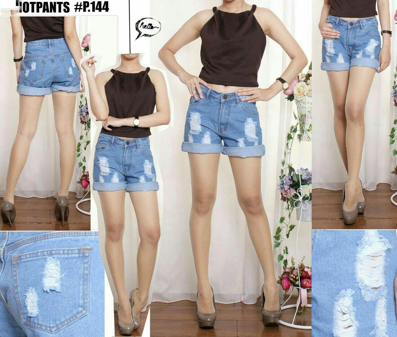 Jual Celana Pendek Hotpant Blue Jeans Ripped - 12925