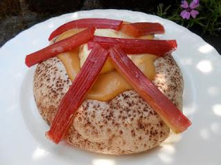 Chocolate and Roasted Rhubarb Pavlova with Rhubarb Curd