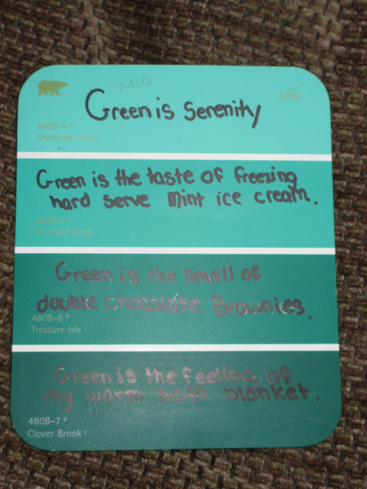 fabulous in fifth!: paint chip poetry