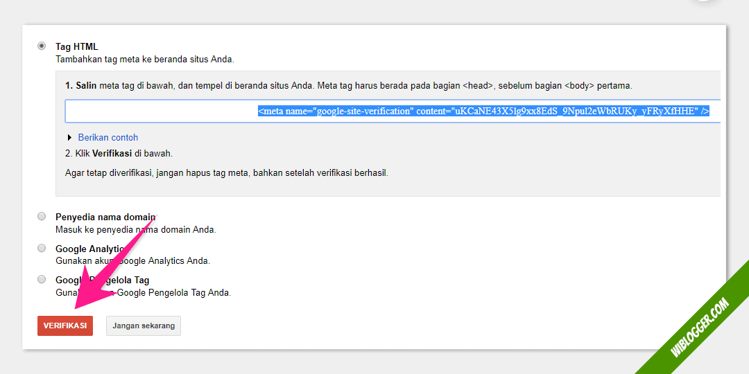 Tahap verifikasi blog di google search console