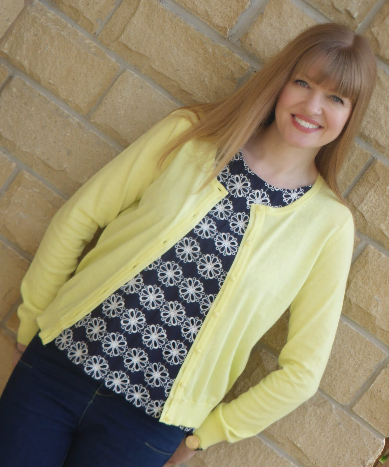 over 40 fashion blog, What Lizzy Loves wearins Navy Boden broderoe top, lemon yellow cardigan, skinny jeans, Navy sequin Boden heels