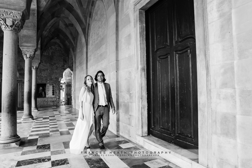 Portrait of bride and groom at the chruch in Amalfi