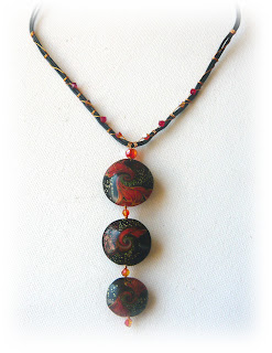Polymer Clay Swirled Lentil Necklace