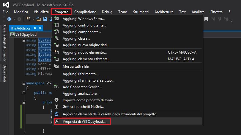 Visual Studio, Proprietà progetto
