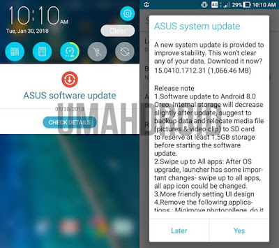 Notifikasi Upgrade Zenfone 3 Android Oreo