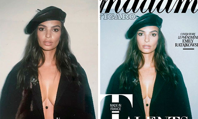 Emily Ratajkowski Madame Figaro Magazine Before and After