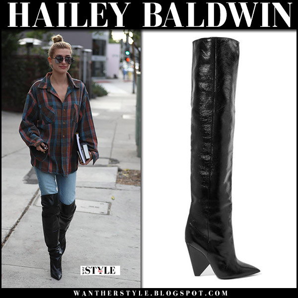 Hailey Baldwin in black over the knee boots and plaid shirt november 1 2017 street style