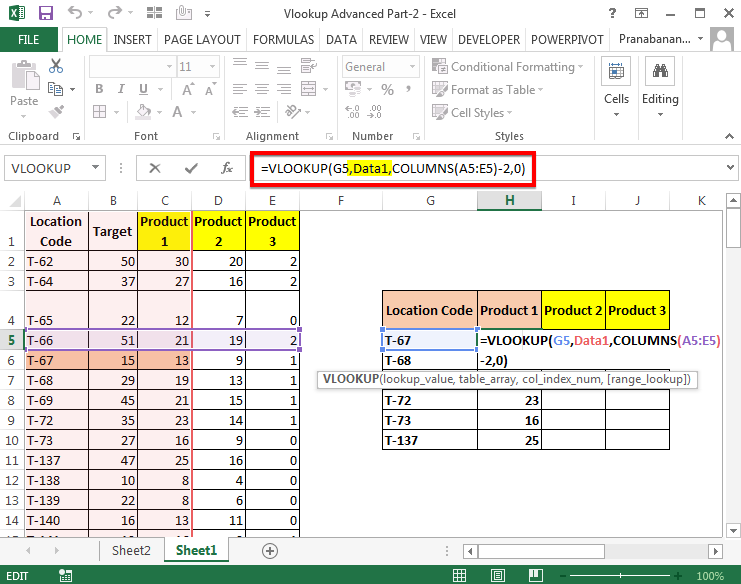 how to find column index number in excel vlookup