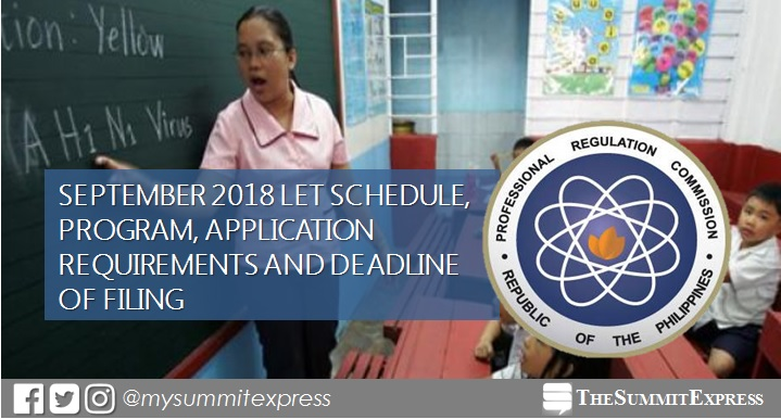 September 2018 LET schedule, program, application requirements and deadline of filing