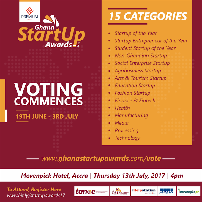 Nominees announced for 2017 Ghana Startup Awards